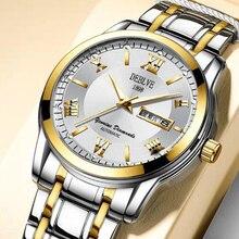 Reloj de marca para hombre, automático, de cuarzo, para negocios, ocio, correa de acero impermeable, doble Calendario, auténtico