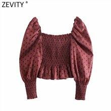 Zevity – chemisier à smocks pour femmes, Vintage, col carré, imprimé à pois, court, Chic, à volants élastiques, Slim, LS9018