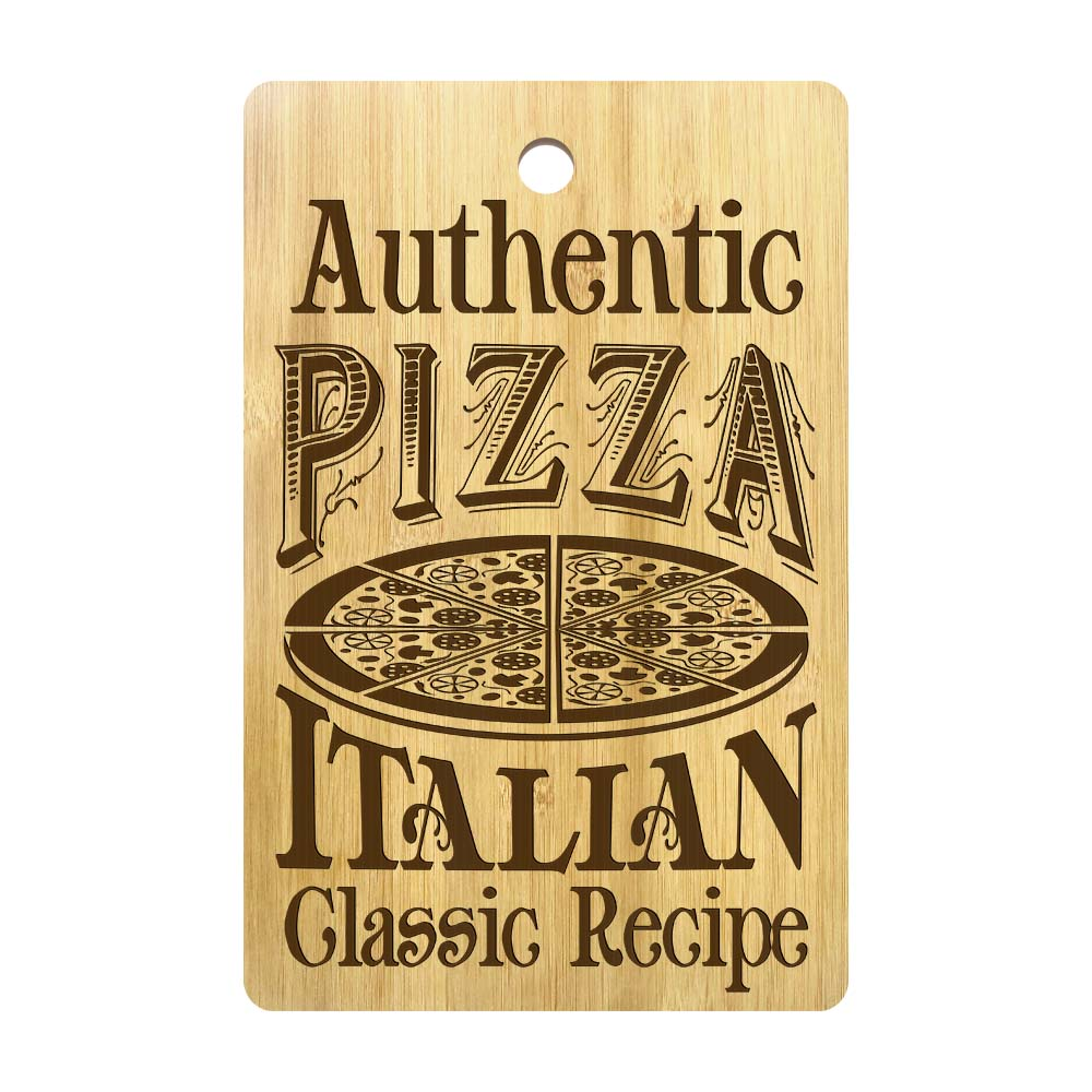 Authentic Pizza Italian Classic Recipe Rectangle Bamboo Pizza Cutting Board Personalized Pizza Chopping Board Pizza Lovers Gift image