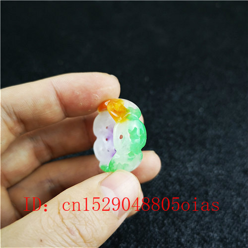 Natural Color Jade Ring Chinese Jadeite Amulet Fashion Charm Jewelry Hand Carved Crafts Gifts For Women Men