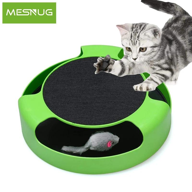 mesnug jouets interactifs 2 en 1 pour chat avec souris de course et tapis a gratter durables surs exercice de jeu pour chaton sans batterie