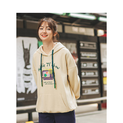INMAN Autumn New Arrival Leisure Hooded Fashion Print Dropped Shoulder All-match Hoodie