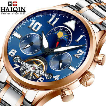 HAIQIN Mens Watches Automatic Mechanical Watch Men Tourbillon Moon Phase Wristwatch Mens Top Brand Luxury Watch Men Reloj Hombre - DISCOUNT ITEM  51 OFF Watches