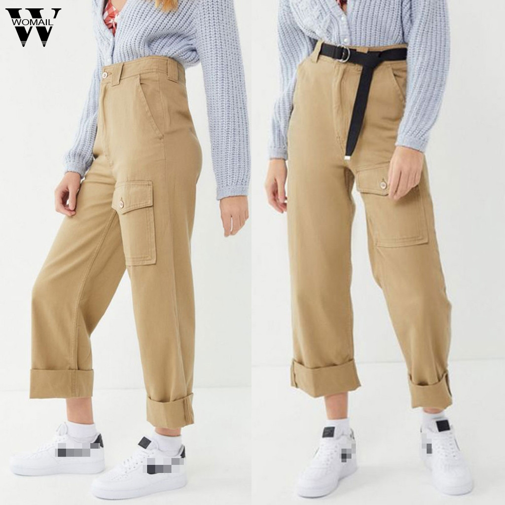 Womail Loose High Waist Women   Pants     capris   Autumn Straight   Pant   Trousers Casual Pocket Fashion Stretch Streetwear Cargo   Pants   93