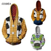 Brinquedo cosplay história traje anime brinquedo hoodies sweatshirts história adulto crianças 3d impressão zíper camisola com capuz