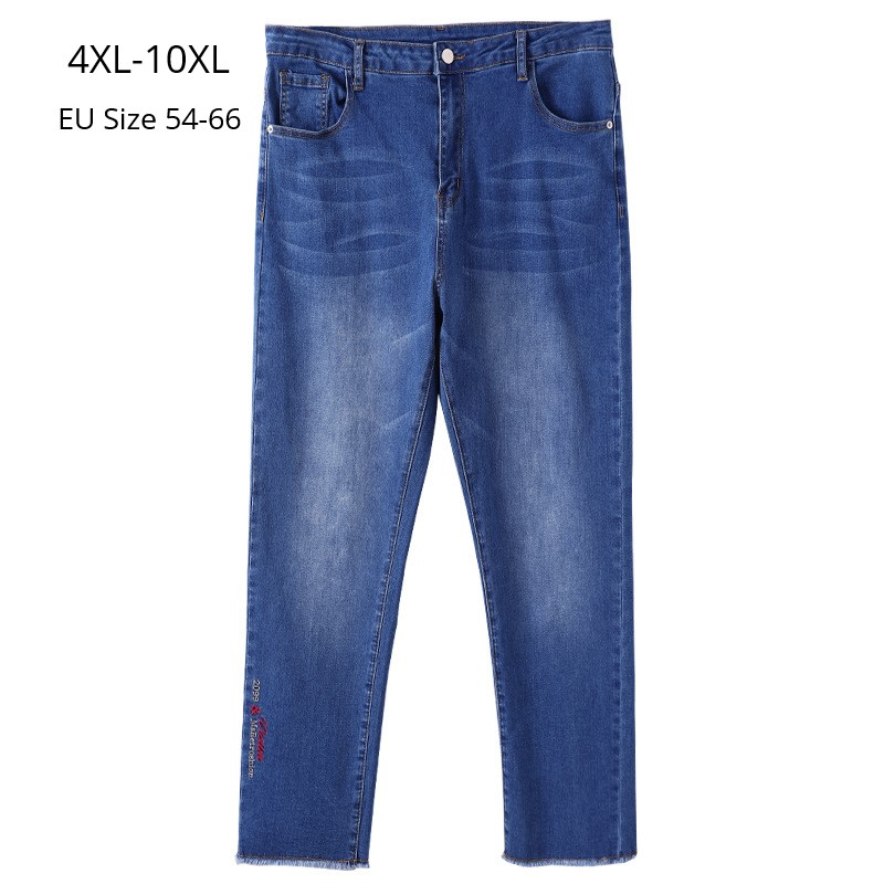 Plus Size 10XL 9XL 8XL Women Ankle-length Embroidery Pants Female High Waist Jeans Women Oversized Skinny Denim Jeans For Mujer