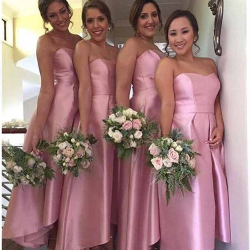 Custom Made Pleat Off-shoulder High/Low   Bridesmaid     Dresses   Vintage Sleeveless Sweetheart Neck Floor Length Wedding Party Gown