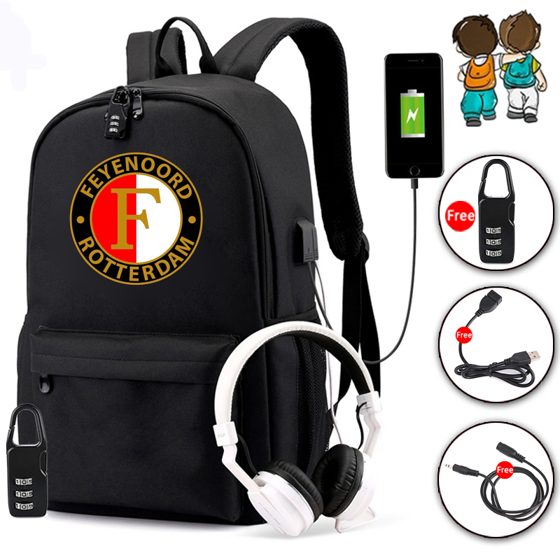 New Feyenoord Teenagers Student Bookbag With USB Charging And Anti-theft Features Backpack For Boys Girl Back To School Bag