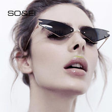 SO & EI nueva moda gafas de sol de ojo de gato gafas de sol brillantes salvajes moda de calle gafas de sol UV400