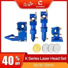 Cloudray k série azul dourado co2 cabeça do laser conjunto com lente espelho para 2030 4060 k40 máquina de corte gravura a laser