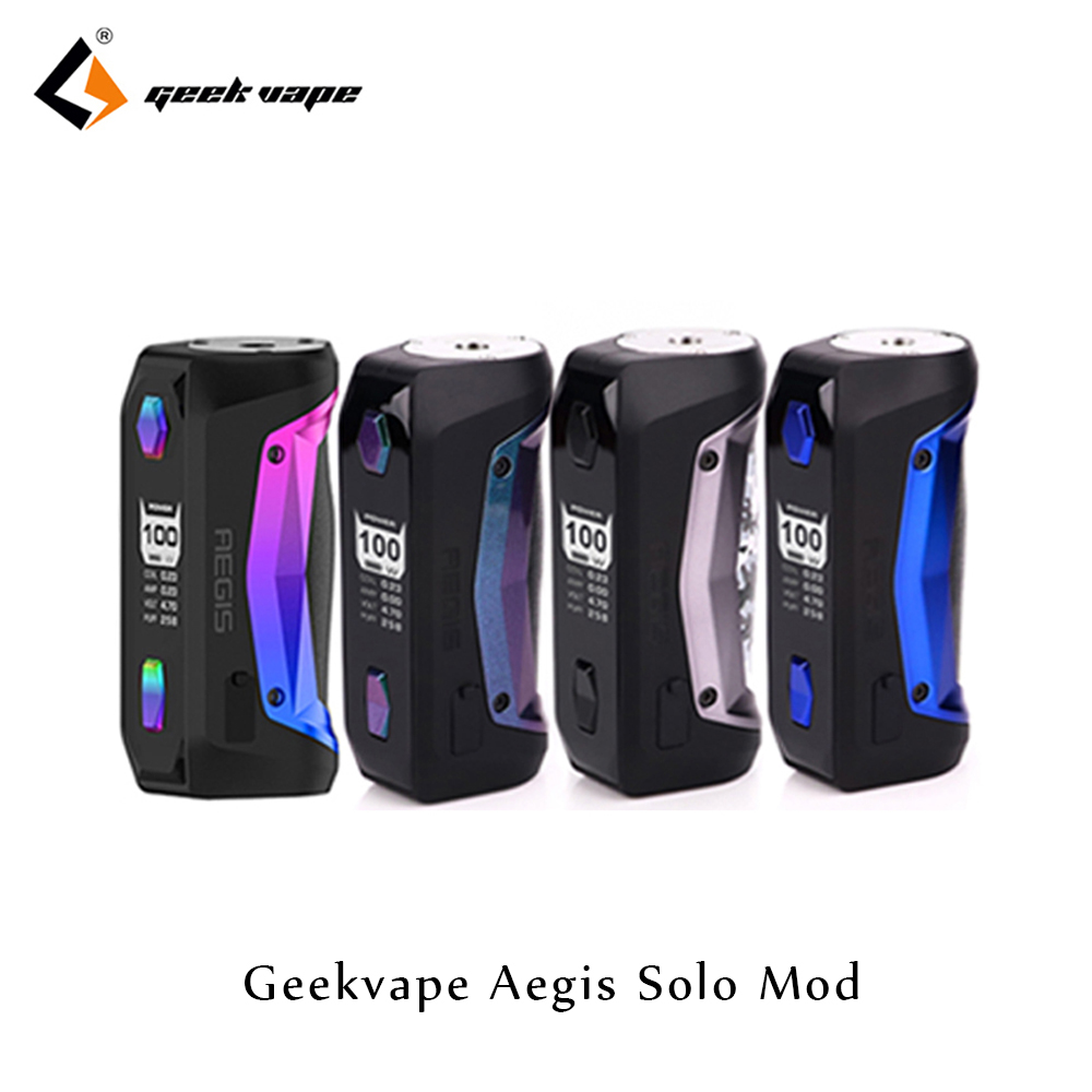 GeekVape Aegis Solo Mod By Single 18650 100W Aegis Solo Box MOD Fit Cerberus Subohm Tank Tengu RDA VS Aegis Mini Mod