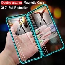 360 magnético metal duplo lado vidro caso do telefone para huawei honra 20 20 pro 9x 9x pro 10 lite y9 prime 2019 p inteligente z p30 capa