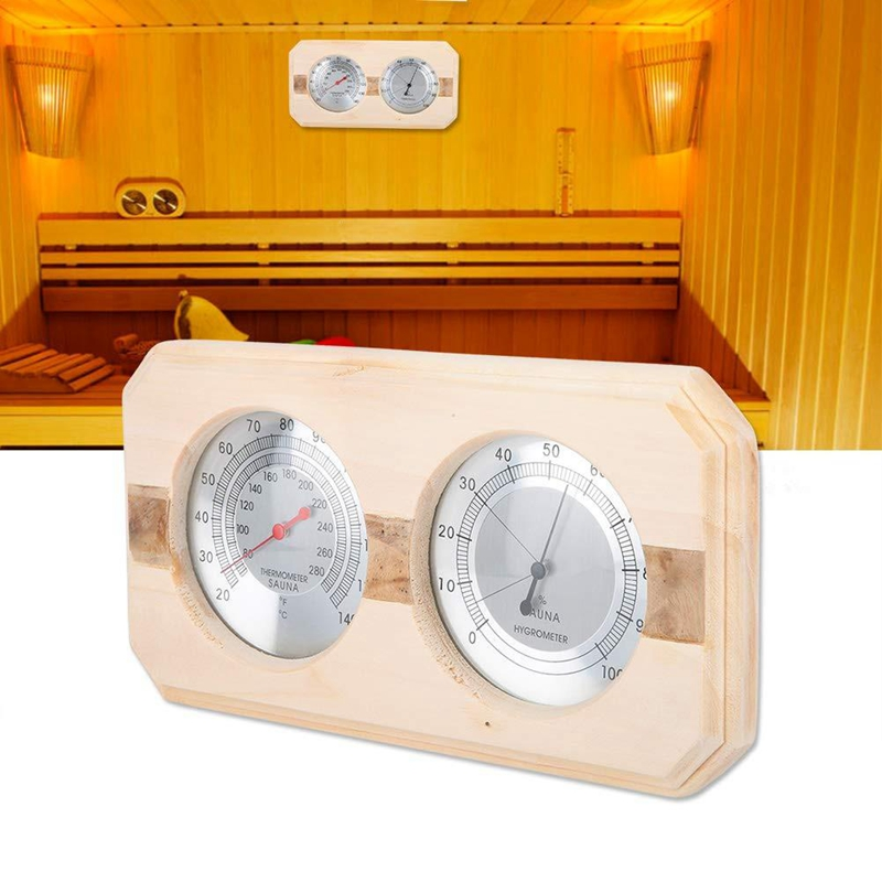 Double Dial Thermometer Hygrometer Indoor Wall Hanging Temperature Humidity Monitor Meter Gauge Metal Measurement For Sauna Room