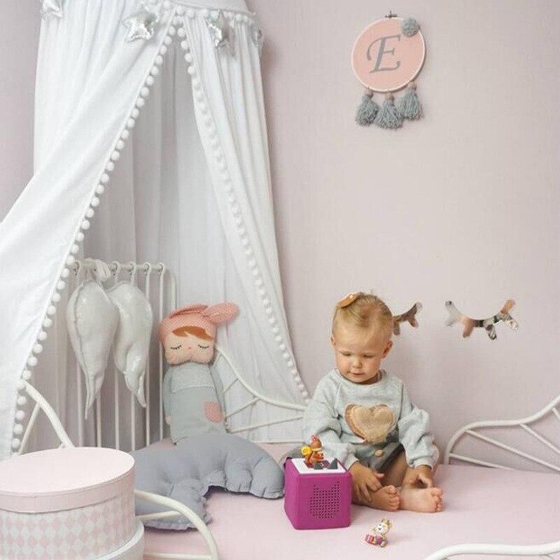 Image 3 - Хлопковое украшение для детской комнаты, мячи, москитная сетка,  детская кровать, навес, круглая кроватка, сетка, палатка, реквизит для  фотосессии, балдацин 245 смПротивомоскитная сетка