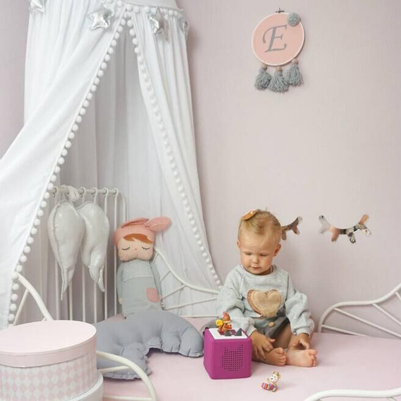 Image 3 - Cotton Baby Room Decoration Balls Mosquito Net Kids Bed Curtain  Canopy Round Crib Netting Tent Photography Props Baldachin  245cmMosquito Net