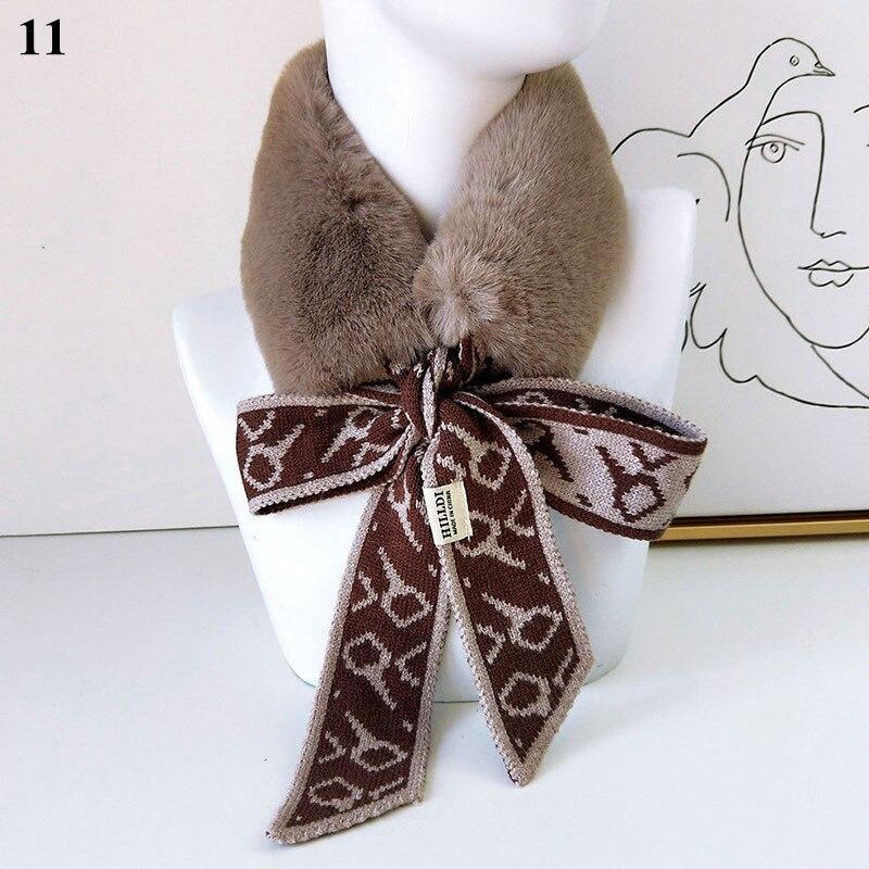 Bufandas de cuello a la moda para mujer, bufanda tejida de piel sintética y calentador de cuello, pañuelos largos con patrones geométricos, bufanda de felpa