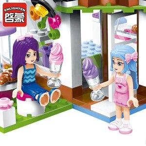 Image 3 - Qman 2003 Abbys Cafe seti arkadaşlar serisi Mini figürleri eğitici oyuncak inşaat blokları kızlar için DIY yaratıcı hediyeler 277 adet