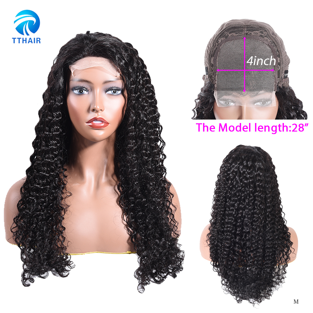 TTHAIR 4x4 Closure Deep Wave Wig Lace Closure Human Hair Wigs 10-28 Inch Curly  Wig Brazilian Hair Wigs For Women