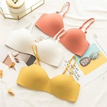 цена на Roseheart Women Fashion Orange Yellow Wireless Soft Sexy Bra One-Piece Bras Female Seamless Invisible Bra Cup A B Underwear