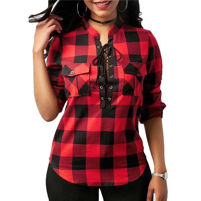Women Plaid Shirt Pocket Sexy 2019 Sleeve Vintage V-neck Lace Up Blouses Tunic Tops Office Ladies Blouses Shirts Blusas Feminino