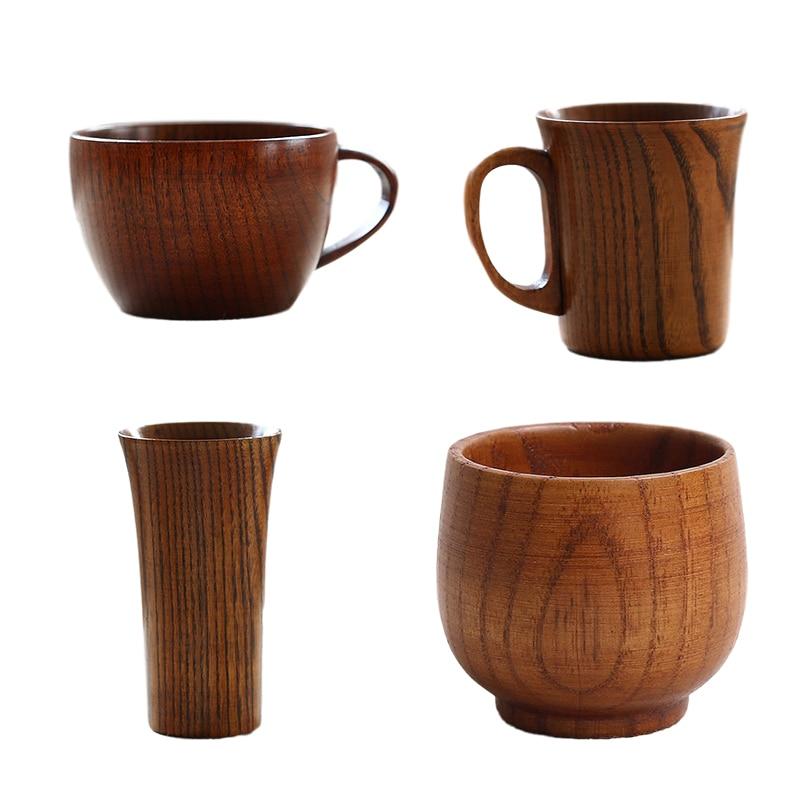 Style japonais rétro tasse en bois saké thé café lait tasse en bois massif tasse pour bureau à domicile simplicité bouteille deau Drinkware