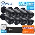 MOVOLS 5MP AI HD камера безопасности Система 8CH H.265 + DVR Открытый Крытый видео наблюдения комплект ночного видения Водонепроницаемая CCTV система