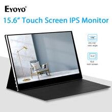 """Eyoyo EM15F 15.6 """"ポータブルhdmi液晶タッチスクリーンゲームモニターips fhd 1920 × 1080 hdrタイプusb cディスプレイ電話pc xbox one"""