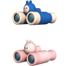 Mini Cartoon Kids Compact Binoculars Boys Toys High-Resolution Magnifying Monocular Girls Gift Pink Telescope For Camping 10x28