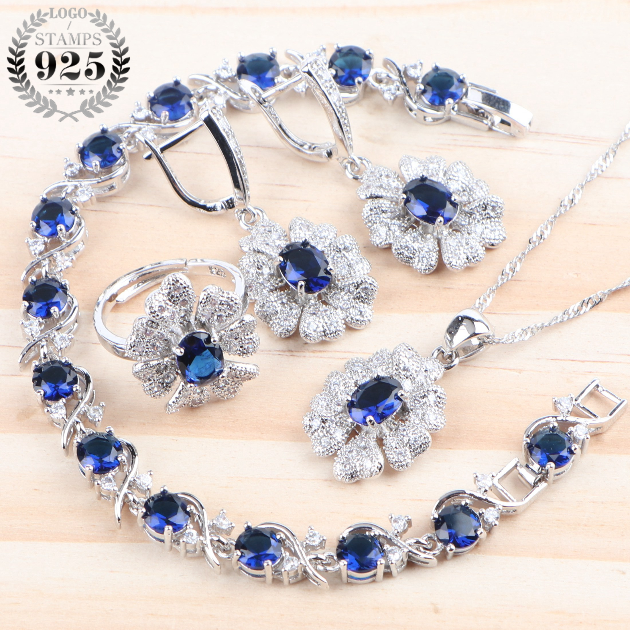 Wedding Silver 925 Bridal Jewelry Sets Women Costume Blue Cubic Zirconia Jewelry Ring Bracelet Earrings Pendant Necklace Sets