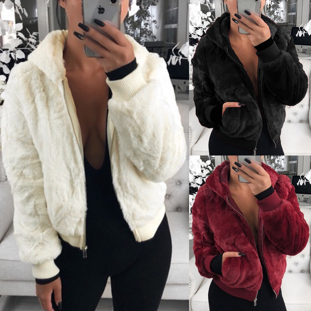 Fluffy Coats Women 2019 Winter Top Fashion Short Faux Fur Coat Elegant Lady Thick Warm Outerwear Plush Jackets Party Outwear D30