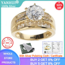 YANHUI With Certificate 100% Original 925 Silver Gold Color Fashion Rings European Brand Big 2.0ct Cubic Zircon Rings for Women(China)