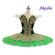 Adult Professional Ballet Tutu Green Gold Nutcracker Classical Ballet Tutus Performance Pancake Tutu Professional Ballet Costume adult professional ballet tutu costume white coppelia competition performance pancake tutu classical ballet stage costume