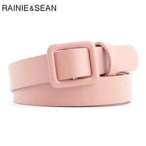 RAINIE SEAN Pink Women Belt No Holes Waist Belt Female Solid Solid Red  Black Camel White Girls Belt Fashion Accessories|Women