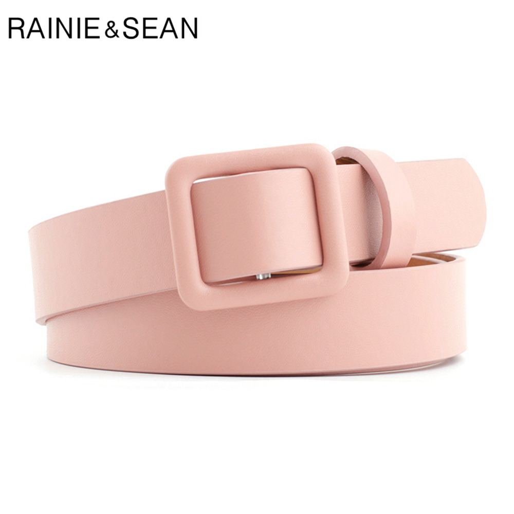 RAINIE SEAN Pink Women Belt No Holes Waist Belt Female Solid Solid Red Black Camel White Girls Belt Fashion Accessories