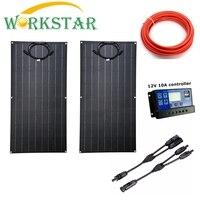 Flexible Solar Panel 2x100w ETFE Panel Solar 12V Solar Charger For RV Boat Home Use 200W Solar System For Beginner