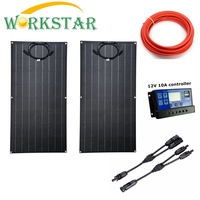 Flexible Solar Panel 2x100w ETFE Panel Solar 12V Solar Charger For RV Boat Home Use 200W Solar System For Beginner