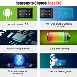 Image 3 - אנצ ל X6 OBD2 סורק Bluetooth מקצועי Obd 2 רכב כלים ABS כרית אוויר שמן EPB DPF איפוס רכב סורק רכב אבחון כלי