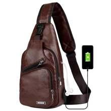 Negócios masculino interface de carregamento usb peito saco juventude retro moda viagem pequena mochila mensageiro saco de ombro