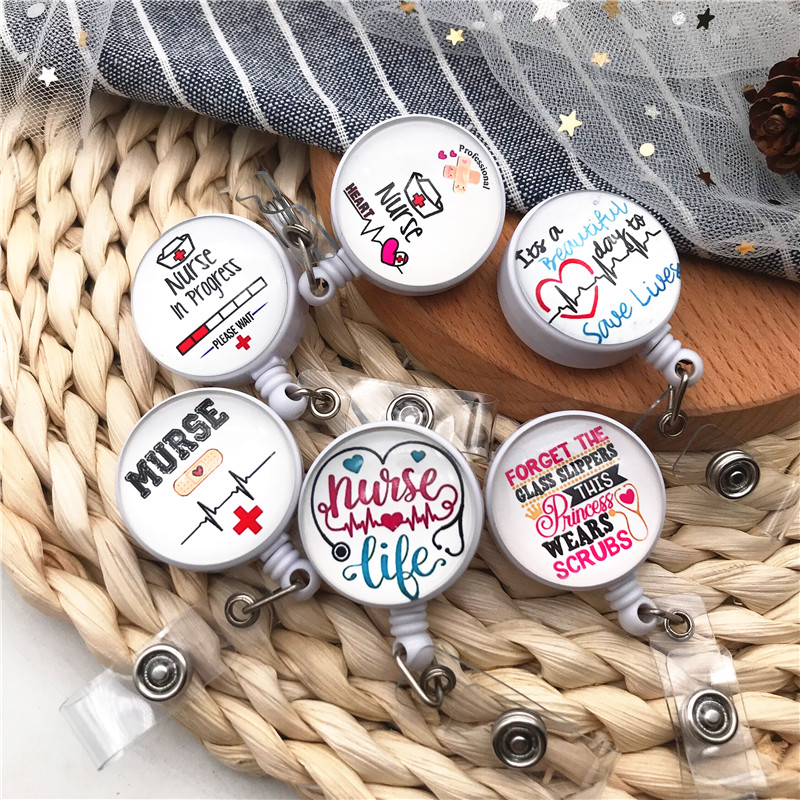 1PCS Stethoscope Doctor Student Quality Retractable Nurse Badge Reel Clip ID Badge Cute Name Card Holder For Office Accessories