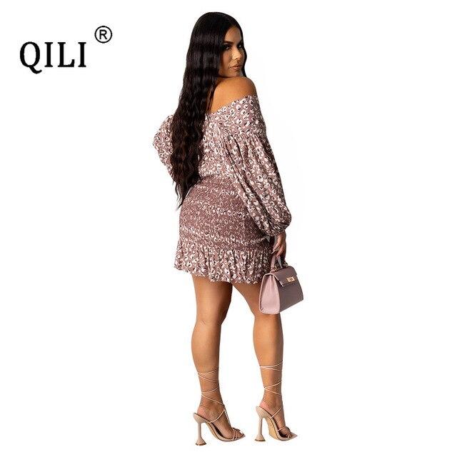 Фото qili сексуальное бандажное платье для женщин с рукавом фонариком