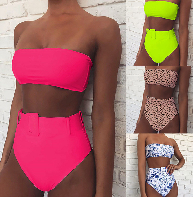 Hirigin Sexy Women Push Up Padded Monokini Bikini Set Strapless High Waist Swimsuit Buckle Bodycon Beachwear Bathing Monokini