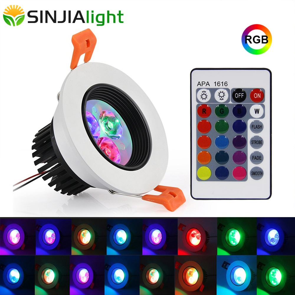 1/2/6pcs 5W RGB LED Downlight with Remote Spot Led Ceiling Lamp Spotlight for Foyer Kitchen Bedroom led lights decoration rgb led 5w rgb 5w rgb lamp - title=