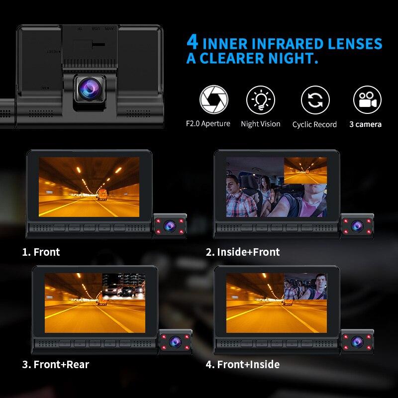 ACCEO Car DVR 3 Cameras Lens 4.0 Inch Dash Camera Dual Lens With Rearview Camera Video Recorder Auto Registrator Dvrs Dash Cam 3
