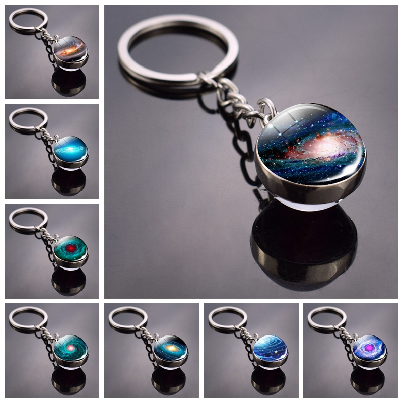 Universe Black Hole Key Chains Galaxy Outer Space Double Side Glass Ball Keychain Astronomy Pendant Keyring