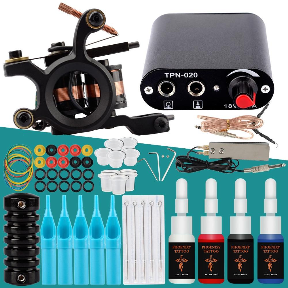 Complete Tattoo Kit 1 Coils Guns 4 Colors Black Pigment Sets Power Tattoo Beginner Grips Kits Body Permanent Makeup Tattoo Set(China)