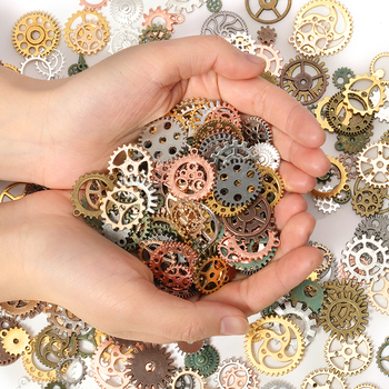 50g 100g Mixed Antique Steampunk Cogs & Gears Charms DIY Pendant Jewelry Making Vintage Bracelets Craft Metal Zinc Alloy - discount item  49% OFF Jewelry Making