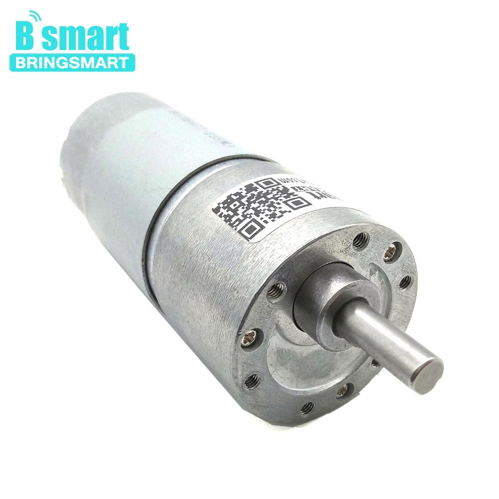 Bringsmart 37GB555 High Torque Electric Motor Low Speed DC 12V 24V Reversed High Torque 6-800RPM 15W Low Noise Gear Motor Robot