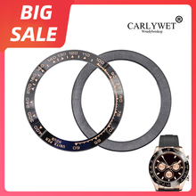 цена на CARLYWET TOP High Quality Luxury Pure Ceramic Black with Rose Gold Writing 38.6mm Watch Bezel for Rolex DAYTONA 116500 - 116520