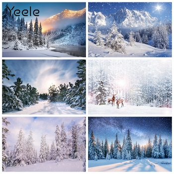 Yeele Winter Forest Pine Elk Snow Christmas Scenery Photography Backdrops Personalized Photographic Backgrounds For Photo Studio