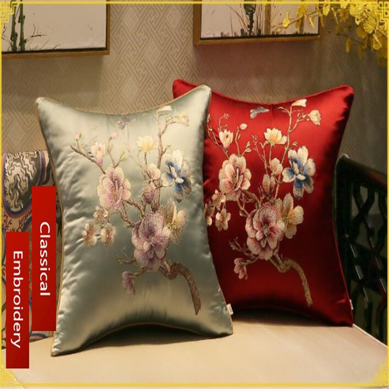free shipping classical quality flowers throw <font><b>Pillow</b></font> with inner <font><b>50x50cm</b></font> <font><b>Pillow</b></font> embroidery sain cushion <font><b>pillow</b></font> chair <font><b>decorate</b></font> image